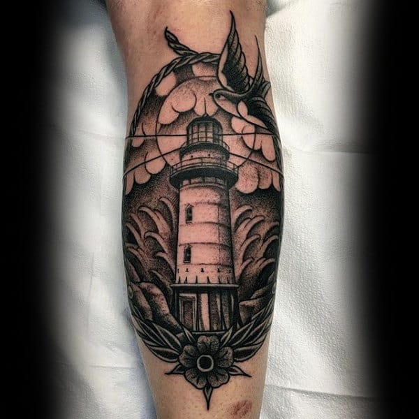 Mens Forearms Lighthouse Bird Dotwork Tattoo