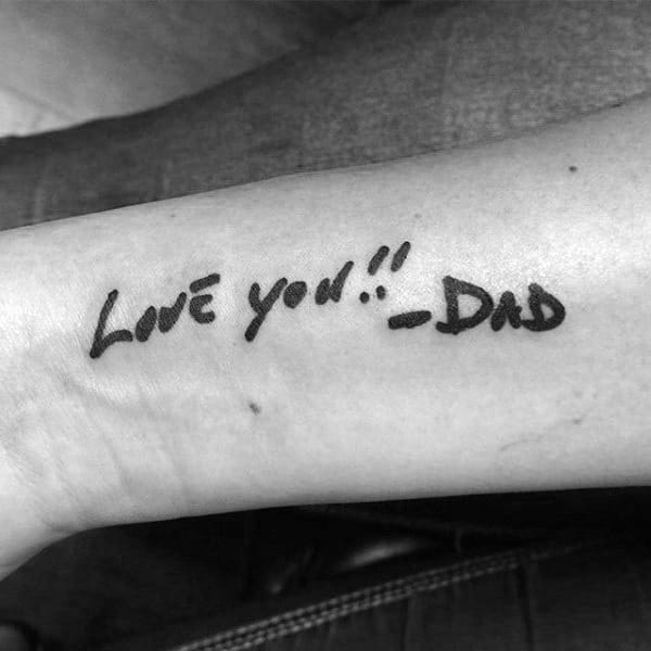 Mens Forearms Love You Dad Tattoo