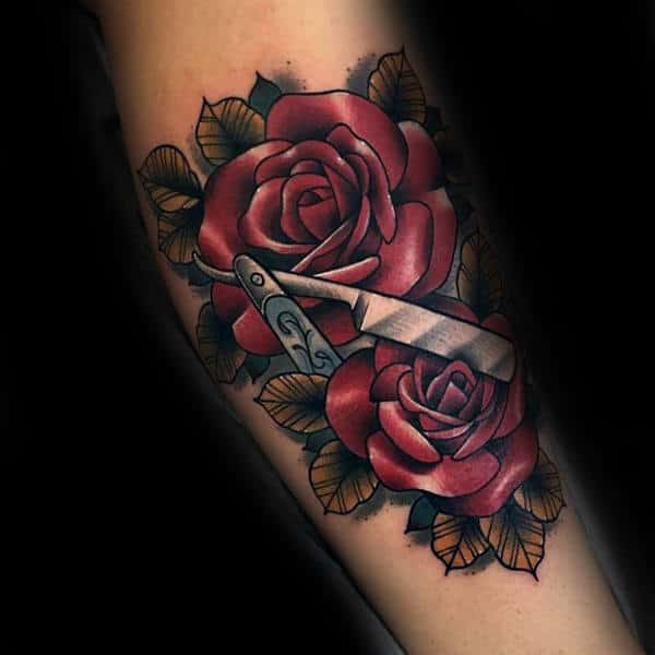 Mens Forearms Lovely Magenta Roses And Straight Razor Tattoo