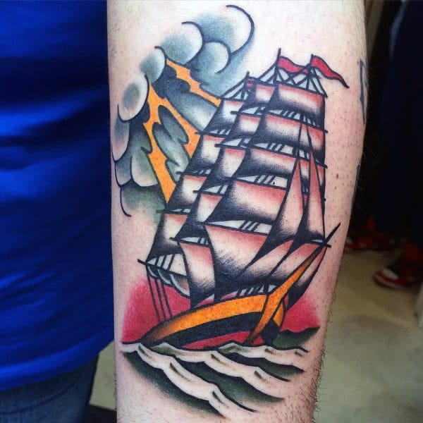 Mens Forearms Lovely Ship Tattoo