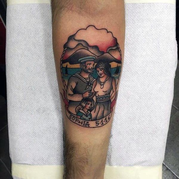 Mens Forearms Loving Family Tattoo