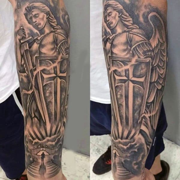 Mens Forearms Magnificient Guardian Angels Tattoo