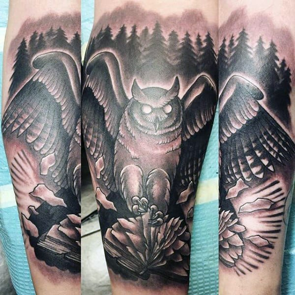 Mens Forearms Mangificient Owl And Books Tattoo