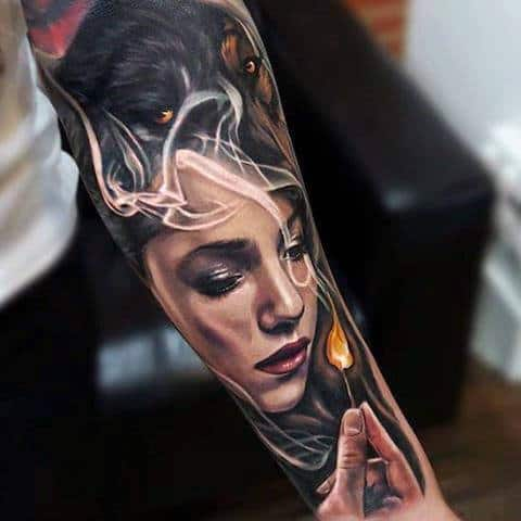 Mens Forearms Manly Tattoo Of Girl With Flame Tattoo Ideas