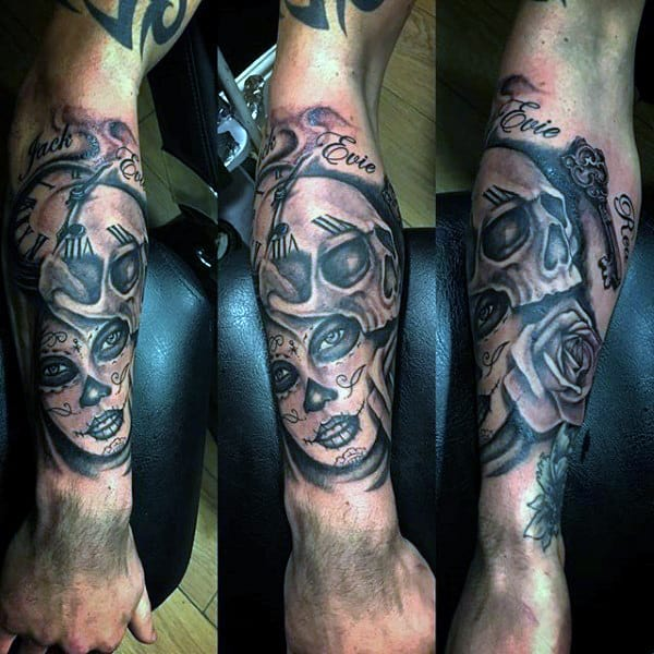 Mens Forearms Merged Skull And Woman With Key Day Of The Dead Tattoo