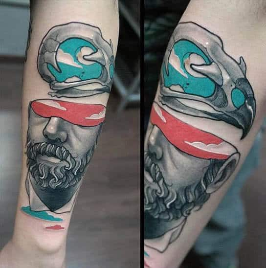 Mens Forearms Modern Art Blindfolded Man Tattoo