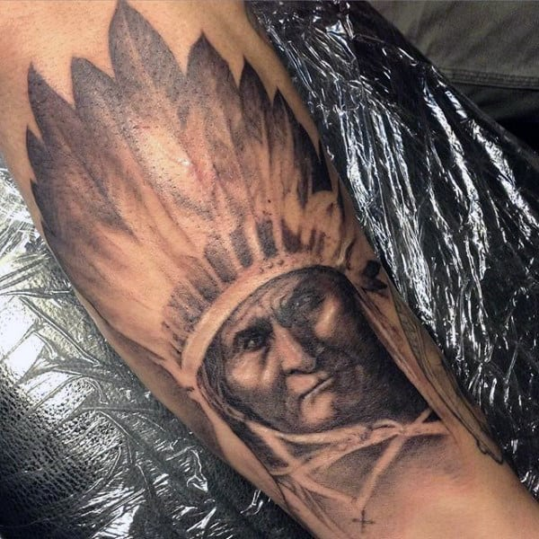 Mens Forearms Native American Chief Tattoo