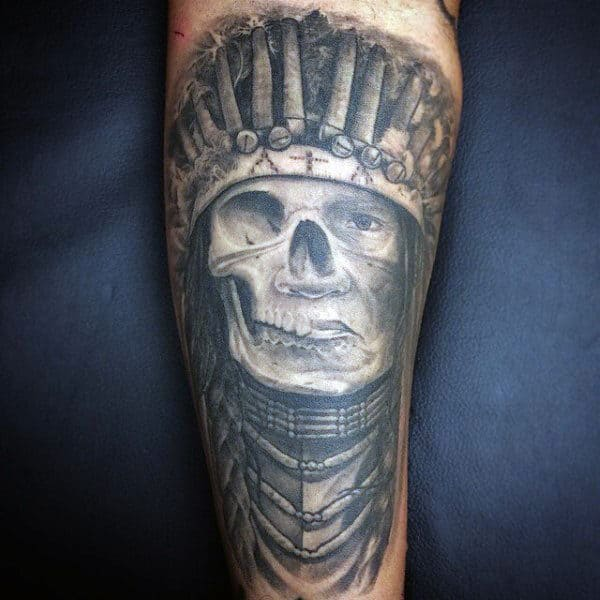 Mens Forearms One Eyed Native American Skull Tattoo