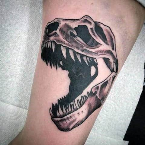 Mens Forearms Open Mouthed Dinosaur Tattoo Designs