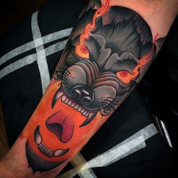 Mens Forearms Orange Blast Interesting Tattoo Ideas