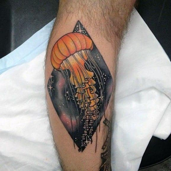 Mens Forearms Orange Jellyfish And Starrynight Tattoo
