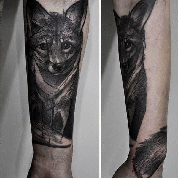 Mens Forearms Pencil Art Fox Tattoo