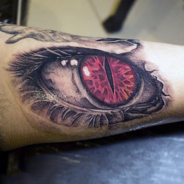 Mens Forearms Pink Eyeball With Black Slit Tattoo