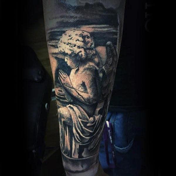 Mens Forearms Praying Angel Religious Tattoo