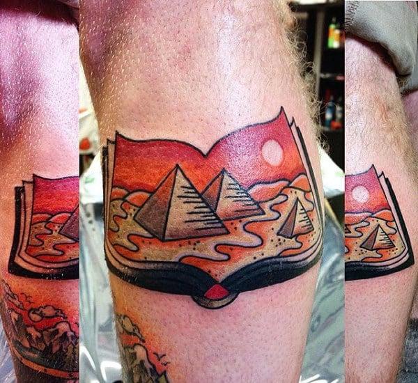 Mens Forearms Pyramids Inside Book Tattoo