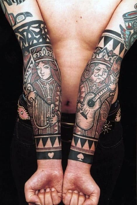 Mens Forearms Queen And King Of Spades Tattoo