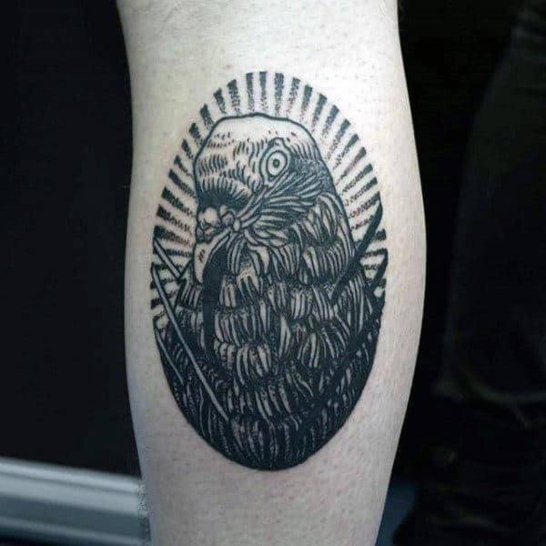 Mens Forearms Raven Dotwork Tattoo