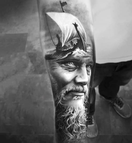 Mens Forearms Realistic Black And White Tattoo Of Bearded Man And Ship