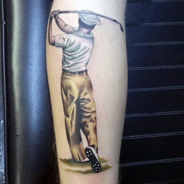Mens Forearms Realistic Golfer Tattoo