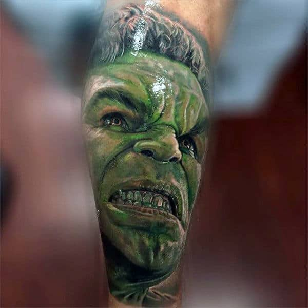 Mens Forearms Realistic Hulk Tattoo