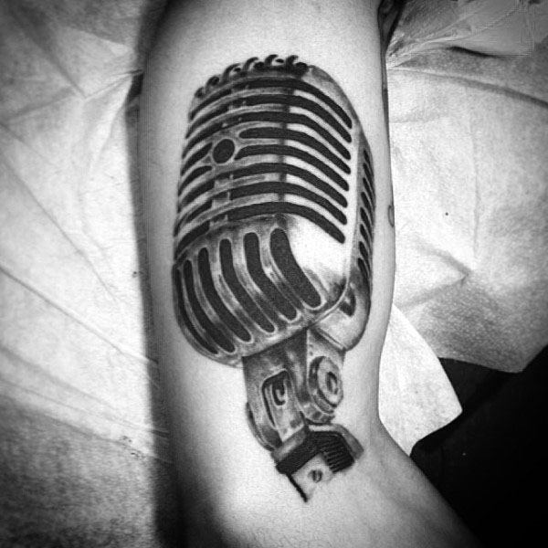 Mens Forearms Realistic Microphone Tattoo