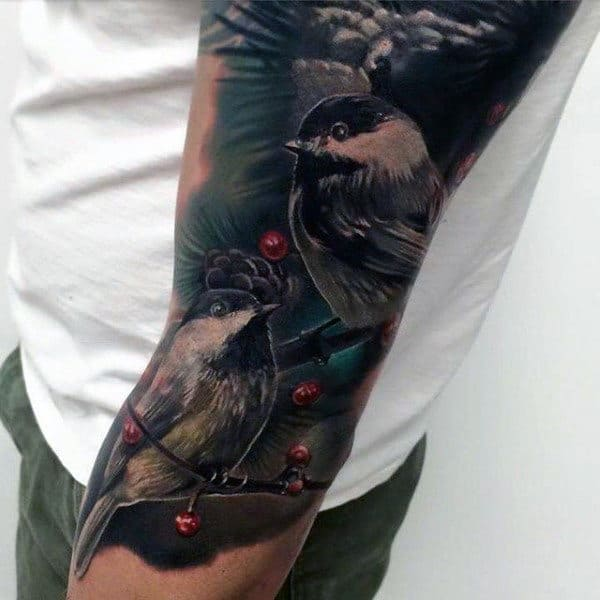Mens Forearms Realistic Sparrow Couple Tattoo