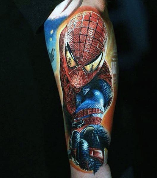 Mens Forearms Realistic Spiderman Tattoo
