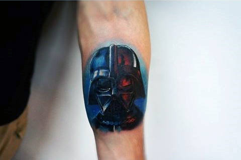 Mens Forearms Red Blue Darth Vader Tattoo