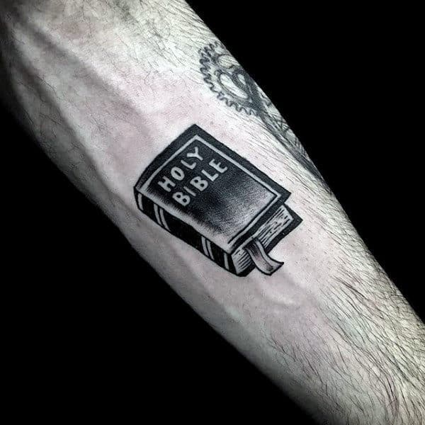 Mens Forearms Religious Holy Bible Tattoo