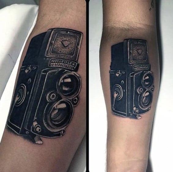 Mens Forearms Rolleiflex Camera