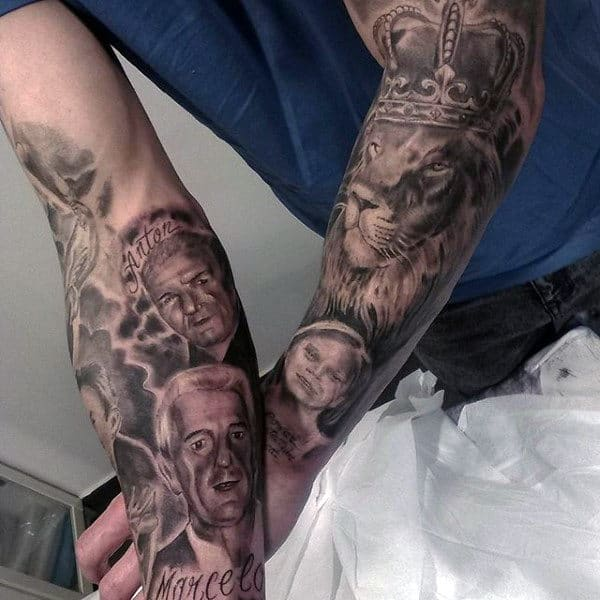 Mens Forearms Royal Lion And Portraits Family Tattoo