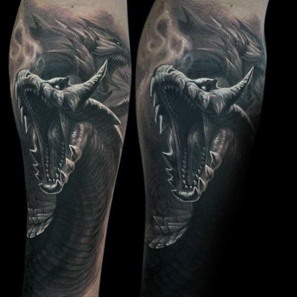 Mens Forearms Screaming Dinsouar Manly Tattoo