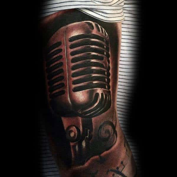 Mens Forearms Sepia Toned Microphone Tattoo