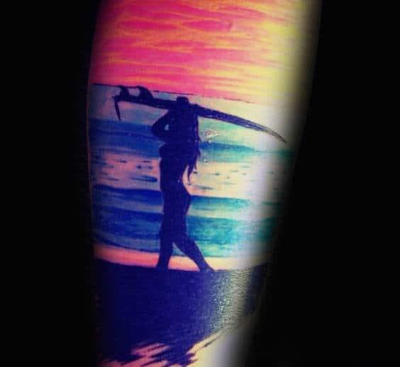 Mens Forearms Sexy Lady Surf Orange Sky Tattoo