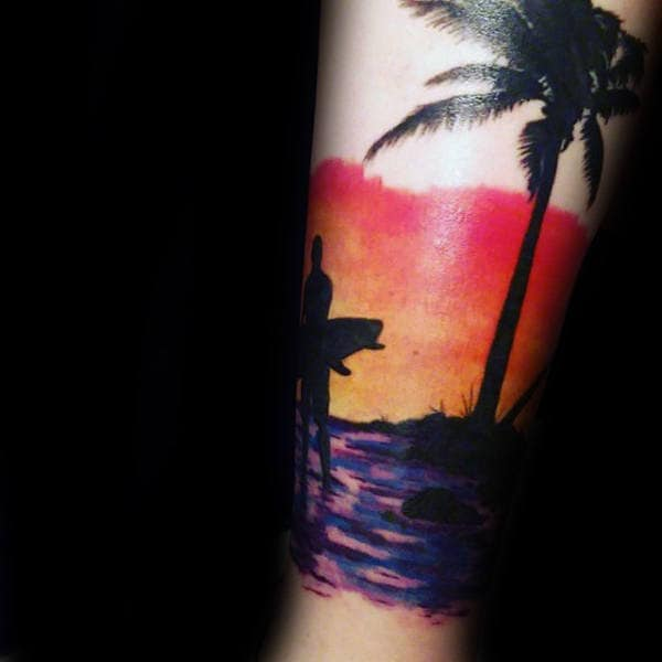 Mens Forearms Shiny Orange Sky Surf Tattoo