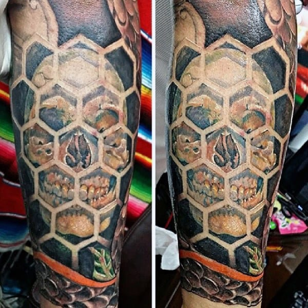 Mens Forearms Skull Peeping Out From Honeycomb Window Tattoo