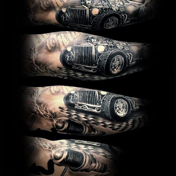 Mens Forearms Smashing Car Hot Rod Tattoo