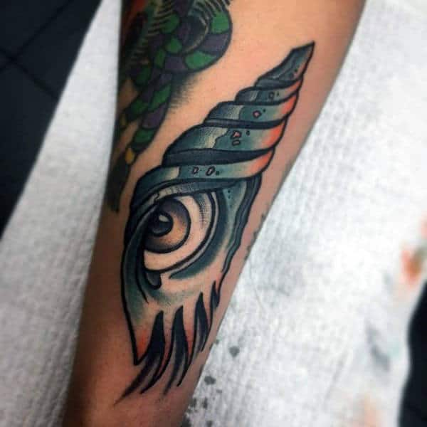Mens Forearms Spiral Shell With Eye Tattoo