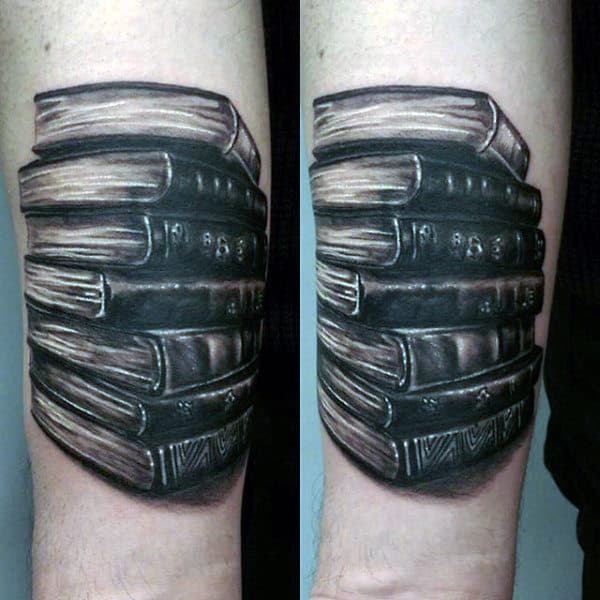 Mens Forearms Stack Of Hardbound Books Tattoo