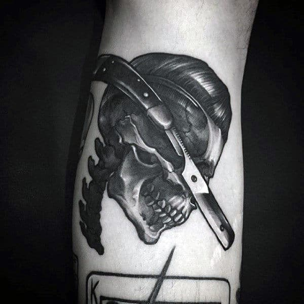 Mens Forearms Straight Razor And Skull Tattoo