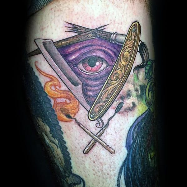 Mens Forearms Straight Razor Golden And Purple Eye Tattoo