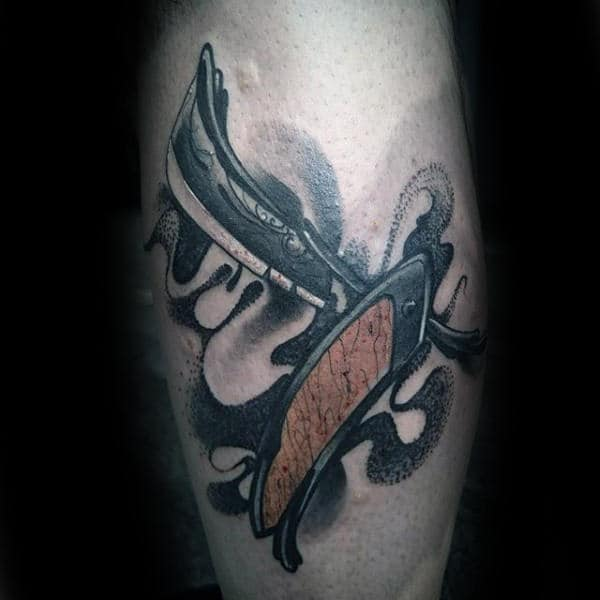 Mens Forearms Straight Razor Tattoo