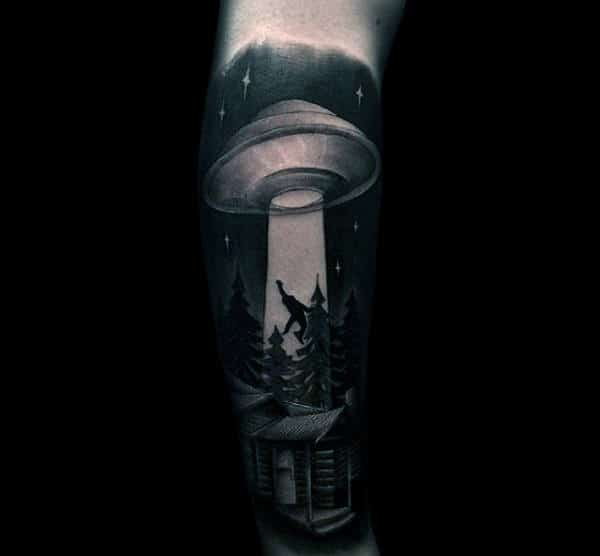 Mens Forearms Stunning Grey Ufo Tattoo