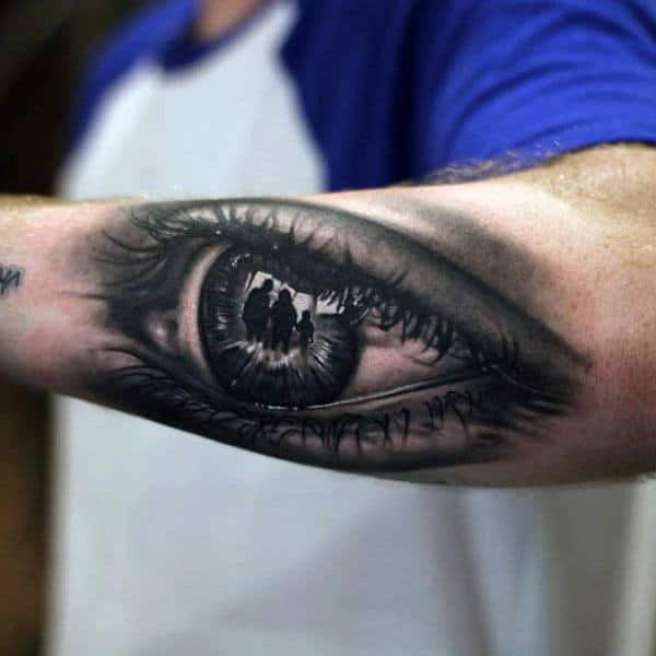 Mens Forearms Surreal Black Eye Tattoo