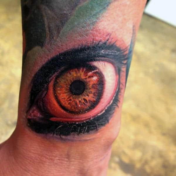 Mens Forearms Surreal Orange Eye Tattoo