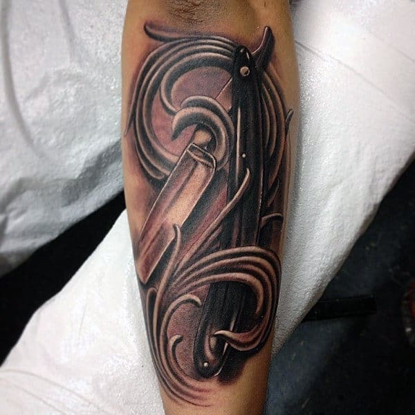 Mens Forearms Swirls And Straight Razor Tattoo