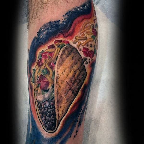 Mens Forearms Taco Food Tattoo
