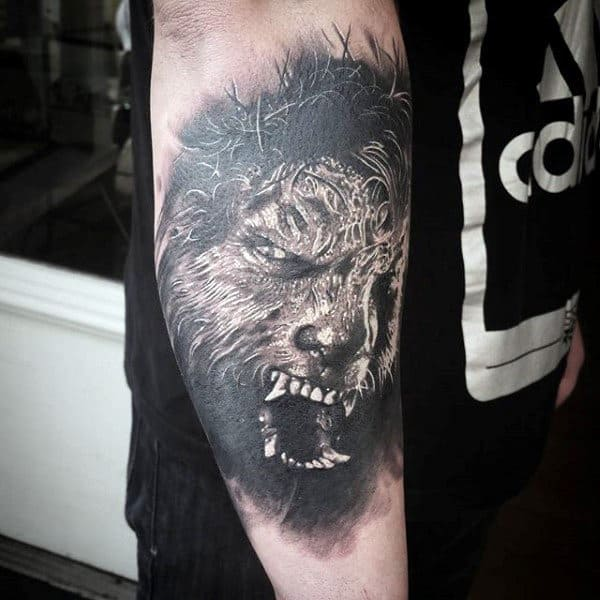 Mens Forearms Terrifying Werewolf Head Tattoo