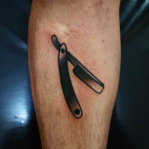 Mens Forearms Tiny Black Straight Razor Tattoo