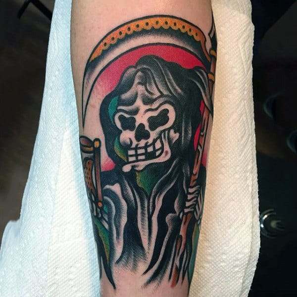 Mens Forearms Traditional Ghoulish Skull Tattoo